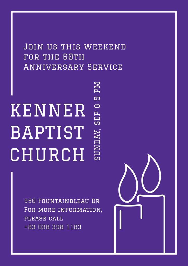 Baptist Church Invitation with Candles — Maak een ontwerp