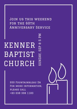 Plantilla de diseño de Baptist Church Invitation with Candles Poster