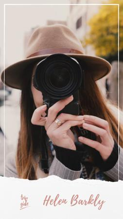 Travel Blogger Woman with Camera in City Instagram Video Story Design Template