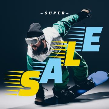 Sale Offer with Man riding snowboard