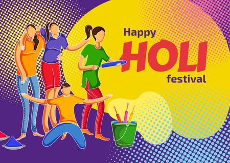 Indian Holi festival celebration Postcard Design Template
