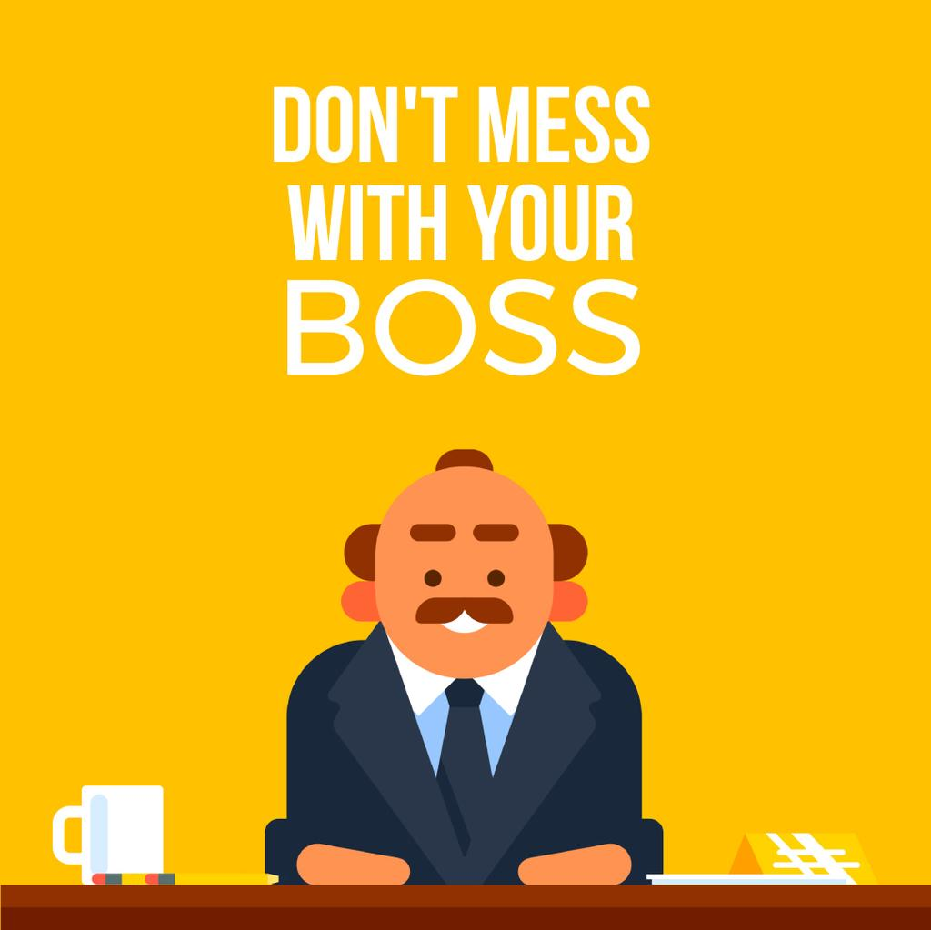 Emotional Angry Boss on Yellow | Square Video Template — Create a Design
