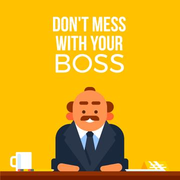 Emotional Angry Boss on Yellow | Square Video Template
