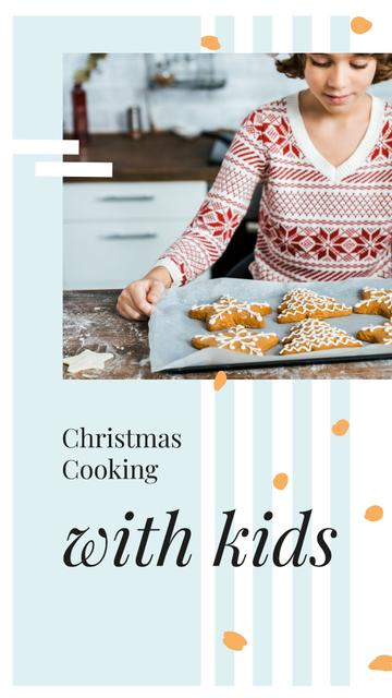 Girl with Christmas ginger cookies Instagram Story Modelo de Design