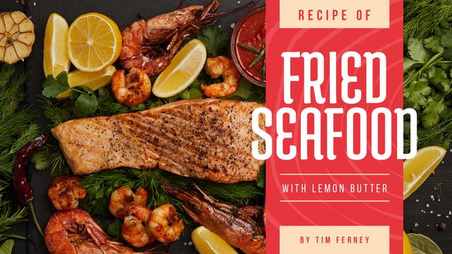 Plantilla de diseño de Seafood Recipe Fried Salmon and Shrimps Youtube Thumbnail