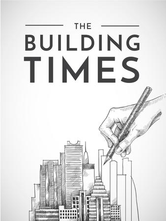 Building Times with hand drawing City Poster US Modelo de Design
