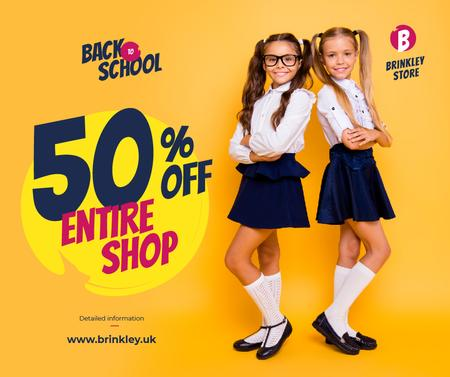 Back to School Offer Schoolgirls in Uniform Facebookデザインテンプレート