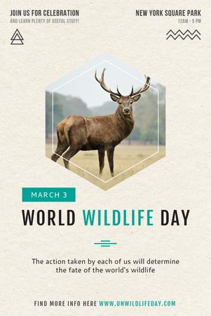 Template di design World wildlife day Pinterest