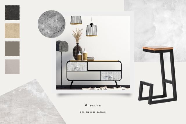 Modern Furniture in stylish room Mood Board Modelo de Design