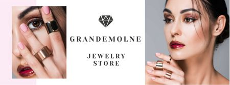 Jewelry Store Ad with Girl in Precious Rings Facebook cover Modelo de Design