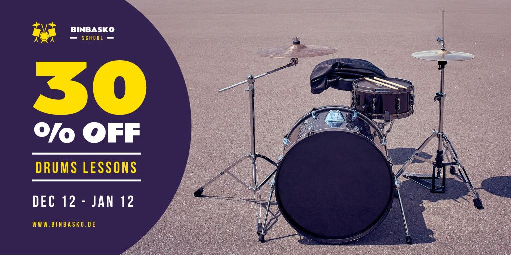 Drums Lessons Ad with Kit on Street — Crear un diseño