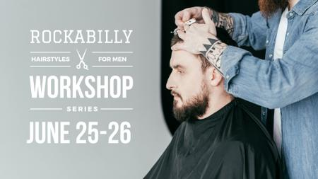 Szablon projektu Hairstyles workshop ad with client at Barbershop FB event cover