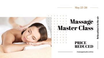 Massage Master Class Ad with Woman on Therapy session