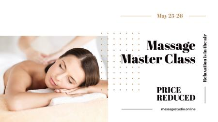 Massage Master Class Ad with Woman on Therapy session FB event cover – шаблон для дизайну