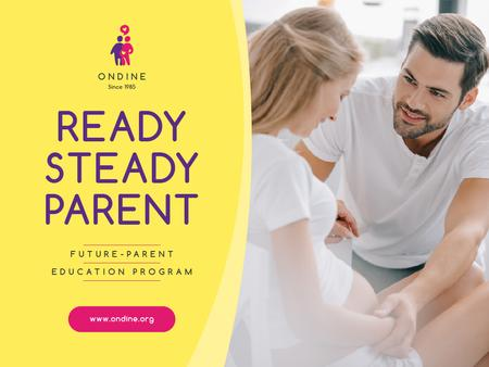 Parenting Courses with Happy Pregnant Woman Presentation Modelo de Design