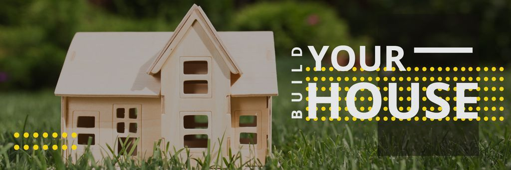 Build your house poster with small wooden house model — Создать дизайн
