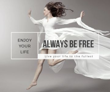 Inspiration Quote Woman Dancer Jumping | Medium Rectangle Template