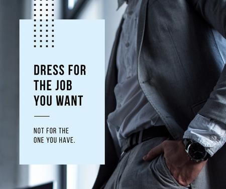 Template di design Fashion Quote Businessman wearing Suit in Grey Facebook