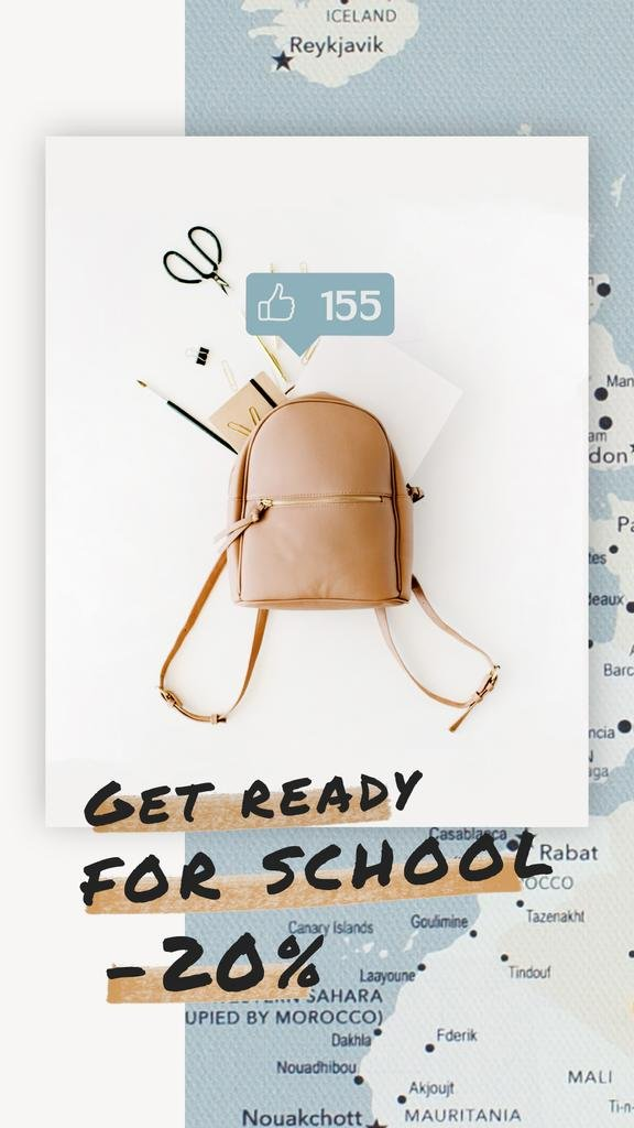 Back to School Sale Stationery in Backpack over Map | Vertical Video Template — Maak een ontwerp