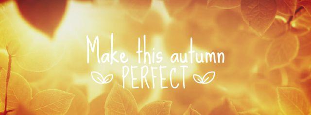 Golden leaves in sunlight Facebook Video cover – шаблон для дизайну