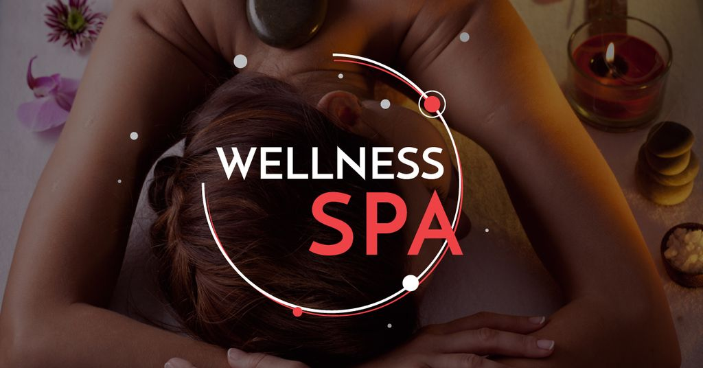 Wellness Spa Ad Woman Relaxing at Stones Massage — Create a Design
