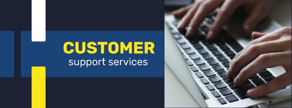 Ontwerpsjabloon van Facebook cover van Business Service Worker typing on Laptop