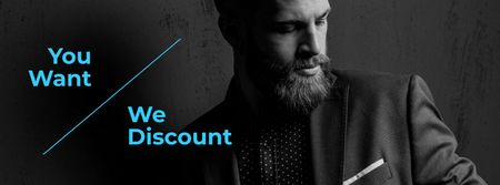 Plantilla de diseño de Suits Store Offer Stylish Bearded Man Facebook cover