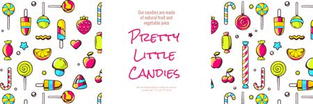 Pretty little candies banner Twitter Modelo de Design