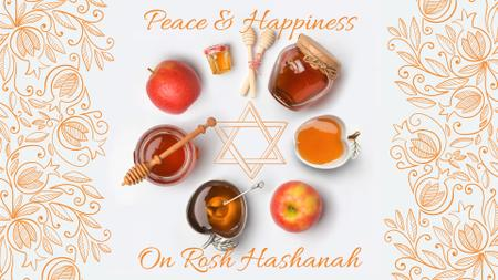 Rosh Hashanah apples with honey and Star of David Full HD video Tasarım Şablonu