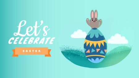 Plantilla de diseño de Cute Easter bunny with egg Full HD video