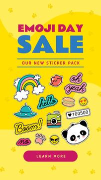 Emoji Day Sale Stickers Set on Yellow | Stories Template