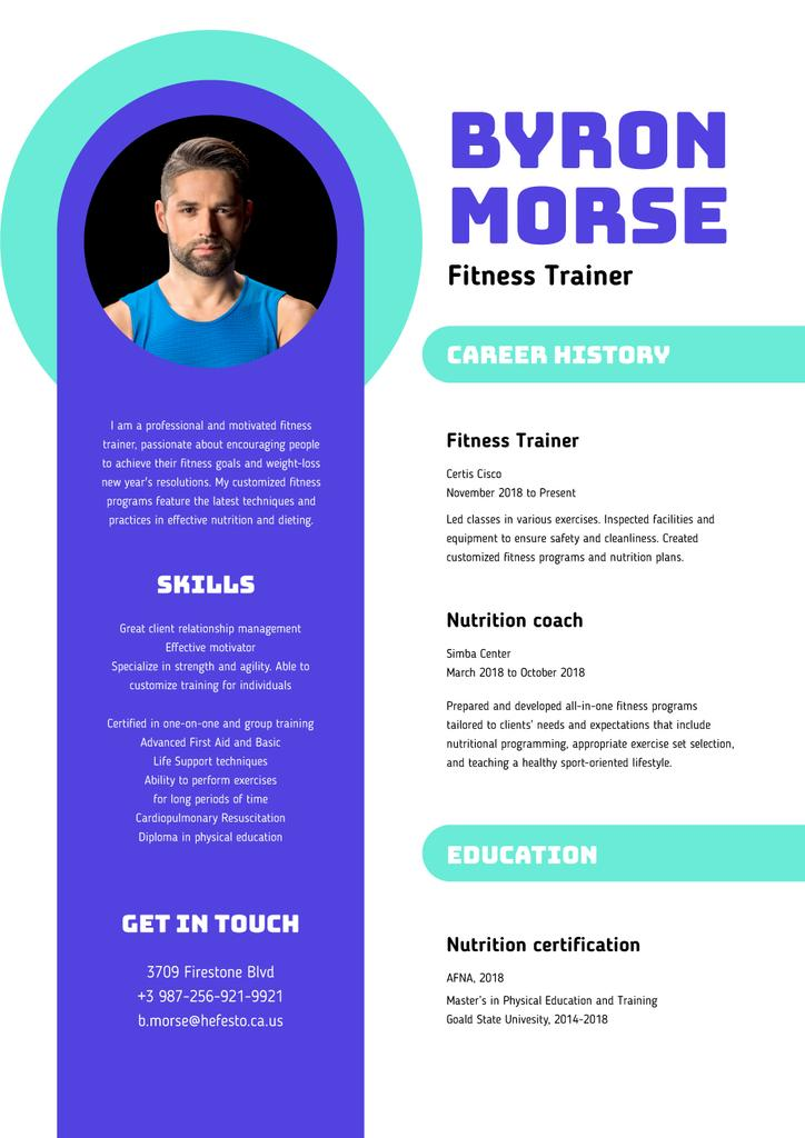 Ontwerpsjabloon van Resume van Professional Fitness trainer skills and experience