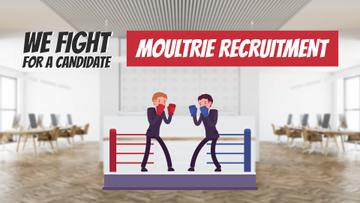 Business Candidates Boxing on Ring