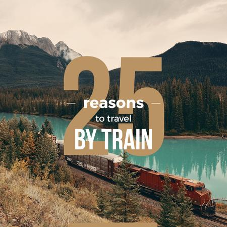 Train riding against of a Beautiful Mountain Landscape Instagram Design Template