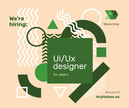 Job Offer on Geometric background in Green Facebook Modelo de Design