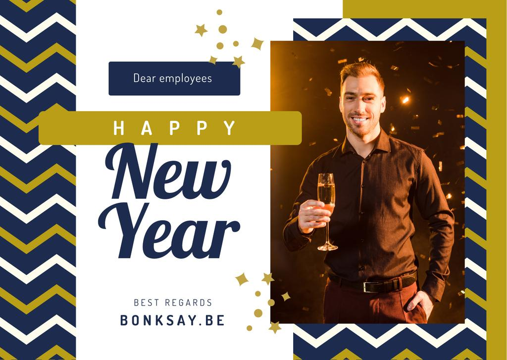 Template di design New Year Greeting Man with Champagne Postcard