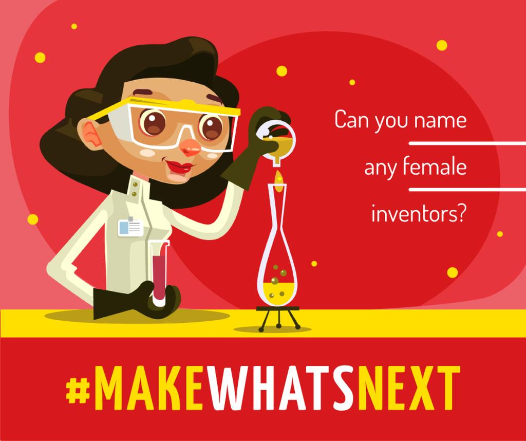 Female scientist with test tube — Maak een ontwerp