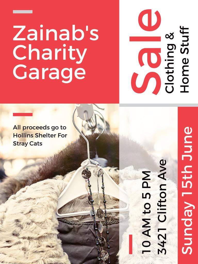 Charity Sale Announcement Clothes on Hangers — Modelo de projeto