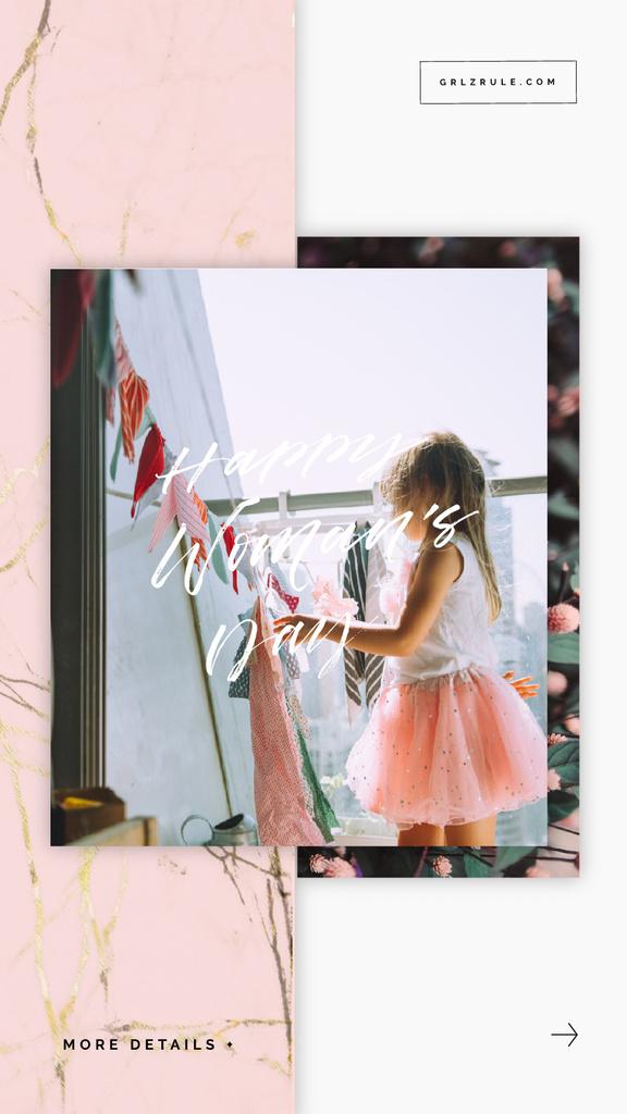 8 March Greeting Little Girl Hanging Laundry | Vertical Video Template — ein Design erstellen