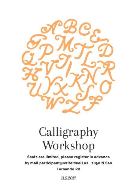 Calligraphy Workshop Announcement Letters on White Flayer – шаблон для дизайну