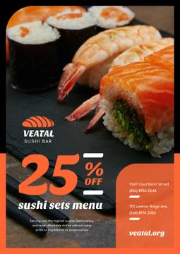 Japanese Restaurant Offer Fresh Sushi | Poster Template