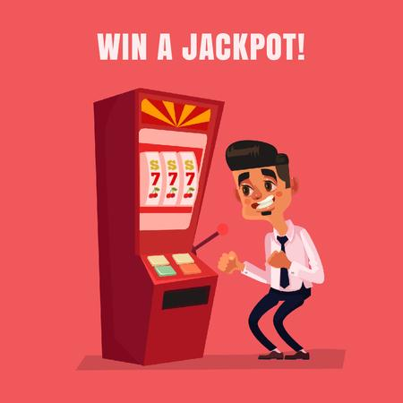 Ontwerpsjabloon van Animated Post van Man winning on slot machine