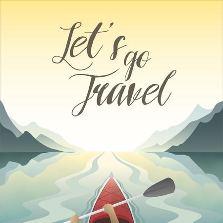 Travel Inspiration with Kayak in Mountains Animated Postデザインテンプレート