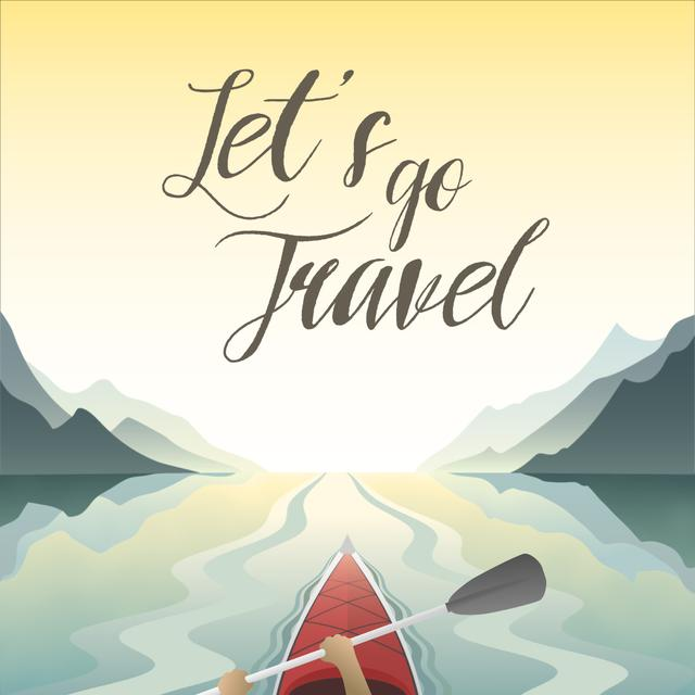 Plantilla de diseño de Travel Inspiration with Kayak in Mountains Animated Post