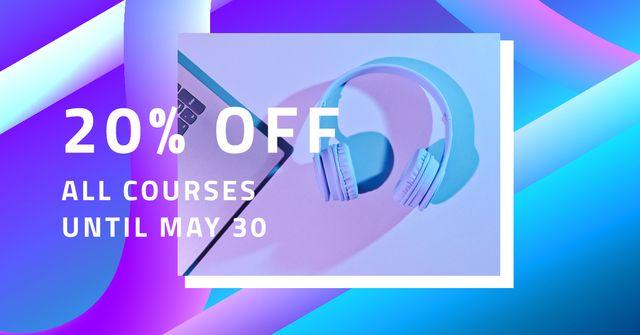 Online Course Ad with laptop and headphones Facebook AD Modelo de Design
