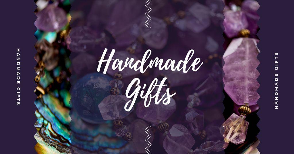 Handmade Jewelry Ad Shiny Colorful Gems in Purple Facebook AD Modelo de Design