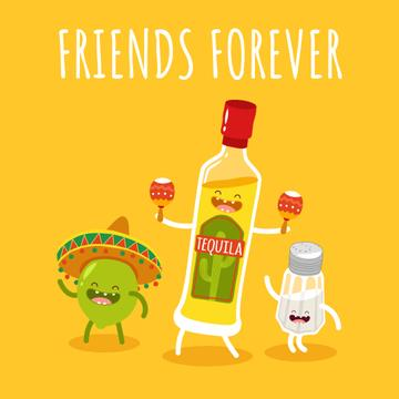 Dancing tequila, lime and salt characters