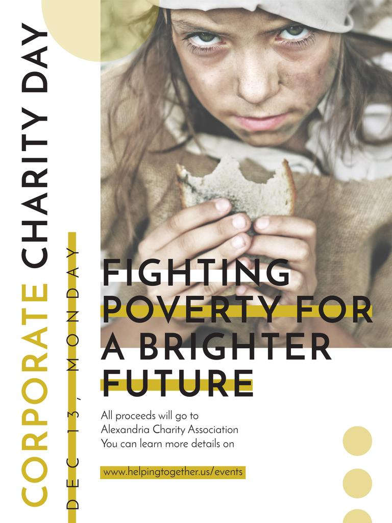Poverty quote with child on Corporate Charity Day — Crear un diseño