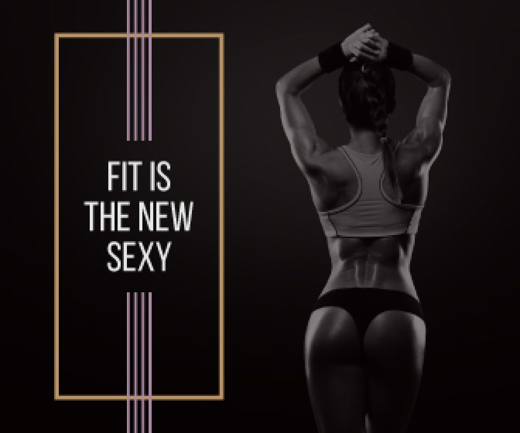 Fit is new sexy poster with sporty young woman — Создать дизайн