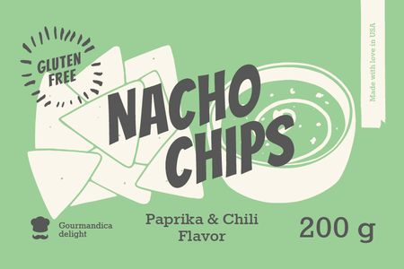 Nacho Chips ad in green Label Tasarım Şablonu